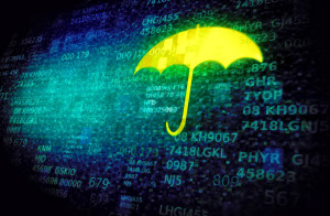 IT Support Huddersfield - Web and cyber security concept with umbrella on data screen